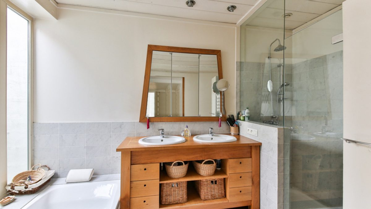 bathroom, wood furniture, shower